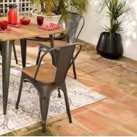 Set tavolo e sedie Soho Bambù in acciaio grigio / argento 2 posti