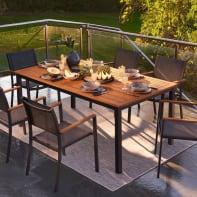 Set tavolo e sedie NATERIAL Oris in alluminio grigio / argento e marrone 6 posti