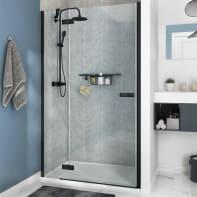 Porta doccia rotante Neo 100 cm, H 200 cm in vetro, spessore 8 mm trasparente nero
