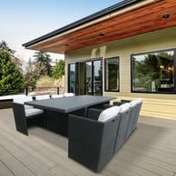 Set tavolo e sedie Kubik in rattan sintetico grigio / argento 8 posti