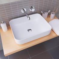 Lavabo free-standing da posizionare sul top o sul muro / da appoggio rettangolare Catania in ceramica L 50 x P 11 x H 13.5 cm bianco