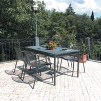 Set tavolo e sedie Syd in metallo grigio / argento 4 posti