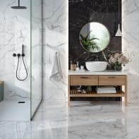 Piastrella da pavimento Statuario 60 x 60 cm sp. 6 mm PEI 1/5 bianco marmorizzato