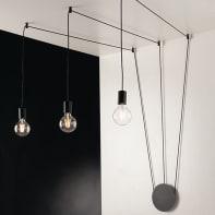 Plafoniera design Habitat nero, in metallo, 3  luci