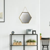 Specchio a parete esagonale Hesagon oro 15x18 cm