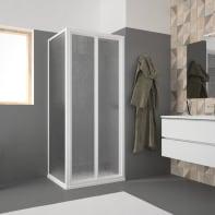 Porta doccia pieghevole Opale 90 cm, H 185 cm in acrilico, spessore 2.8 mm acrilico piumato bianco
