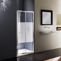 Porta doccia pieghevole Namara 120 cm, H 195 cm in vetro temprato, spessore 8 mm serigrafato satinato