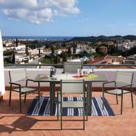 Set tavolo e sedie Lyra in alluminio marrone 4 posti
