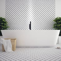 Mosaico H 23.5 x L 28.5 cm bianco