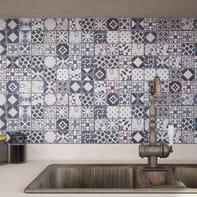 Mosaico H 30 x L 30 cm nero/blu/azzurro/rosa