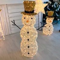 Pupazzo di neve 220 lampadine bianco caldo H 105 cm