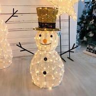 Pupazzo di neve 160 lampadine bianco caldo H 70 cm