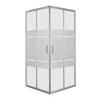 Box doccia rettangolare scorrevole Sinque 70 x 90 cm, H 190 cm in vetro temprato, spessore 5 mm serigrafato argento