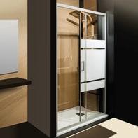Porta doccia scorrevole Sinque 140 cm, H 190 cm in vetro temprato, spessore 5 mm serigrafato satinato