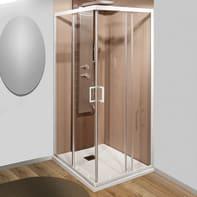 Box doccia rettangolare scorrevole Sinque 70 x 90 cm, H 190 cm in vetro temprato, spessore 5 mm trasparente bianco