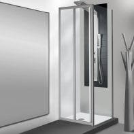 Porta doccia scorrevole Essential 120 cm, H 185 cm in vetro temprato, spessore 4 mm trasparente satinato