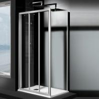 Porta doccia 3 ante scorrevoli Essential 100 cm, H 185 cm in vetro temprato, spessore 4 mm trasparente satinato