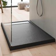 Piatto doccia acrilico rinforzato fibra di vetro BALI STONE 90 x 70 cm grigio antracite con superficie effetto ardesia