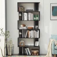 Libreria 6 ripiani L 80 x P 24 x H 190 cm nero