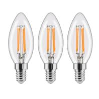 Lampadina LED filamento E14, Oliva, Trasparente, Bianco, Luce calda, 4.5W=470LM (equiv 40 W), 360° , LEXMAN , set di 3 pezzi