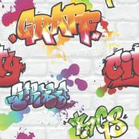 Carta da parati Graffiti bianco