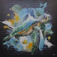 Quadro dipinto a mano Tartarughe 100x100 cm