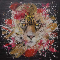 Quadro dipinto a mano Pantera 100x100 cm