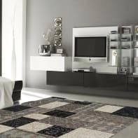 Tappeto Modern kilim patch in ciniglia, grigio e nero, 160x230 cm