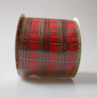 Decorazione per albero di natale in tessuto rosso scozzeseL 6 cm