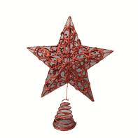 Puntale per albero di natale rossoin metallo