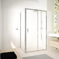 Box doccia angolare porta scorrevole e lato fisso rettangolare Ocean 140 x 70 cm, H 195 cm in vetro temprato, spessore 8 mm trasparente argento