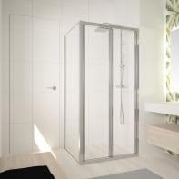 Box doccia angolare con porta pieghevole e lato fisso quadrato Ocean 70 x 70 cm, H 195 cm in vetro temprato, spessore 5 mm trasparente argento