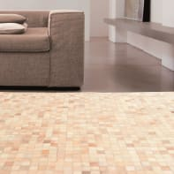 Tappeto Leath patchwork in cuoio, beige, 160x230