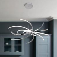 Lampadario Moderno Elettra LED integrato cromo, in alluminio, D. 100 cm, L. 100 cm, 6 luci, NOVECENTO