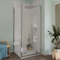 Box doccia angolare con porta a battente e lato fisso rettangolare Bilbao 90 x 80 cm, H 190 cm in vetro temprato, spessore 6 mm trasparente cromato