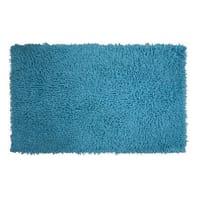 Tappeto bagno rettangolare Bouclettes in 100% cotone azzurro 80.0 x 50.0 cm
