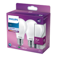 Set di 2  lampadine LED filamento, E27, Goccia, Opaco, Luce naturale, 8.5W=1055LM (equiv 75 W), 360° , PHILIPS