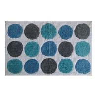 Tappeto bagno rettangolare Polka in cotone blu 80 x 50 cm