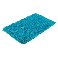Tappeto bagno rettangolare Time in cotone azzurro 80.0 x 50.0 cm