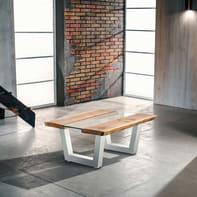 Tavolo rettangolare Vertigo con piano in legno L 85 x P 100 cm