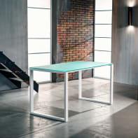 Tavolo da giardino rettangolare Crystal con piano in vetro L 75 x P 140 cm
