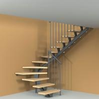 Scala a rampa due quarti di giro Mas 030 FONTANOT L 75 cm, gradino naturale, struttura antracite