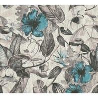 Carta da parati Greenery Tropical azzurro, 53 cm x 10.05 m