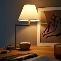 Lampada da tavolo Classico Olbia grigio , in metallo, INSPIRE
