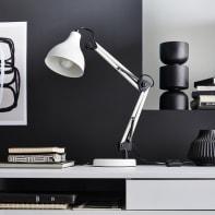 Lampada da scrivania Vintage Ennis bianco , in metallo, INSPIRE