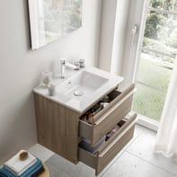 Mobile bagno Linea base in finitura rovere cotto e lavabo in ceramica bianco lucido L 59.5 cm