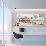 Dipinto originale Villa sul mare 65x150 cm