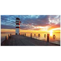 Quadro su tela Faro sul molo al tramonto 145x75 cm