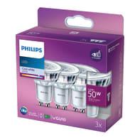 Set di 3  lampadine LED, GU10, Faretto, Opaco, Luce naturale, 4.6W=400LM (equiv 50 W), 200° , PHILIPS