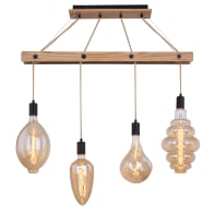 Lampadario Industriale SOSP VISSO LEGNO NAT L90 4X60W E27 ES marrone chiaro in legno, 4 luci